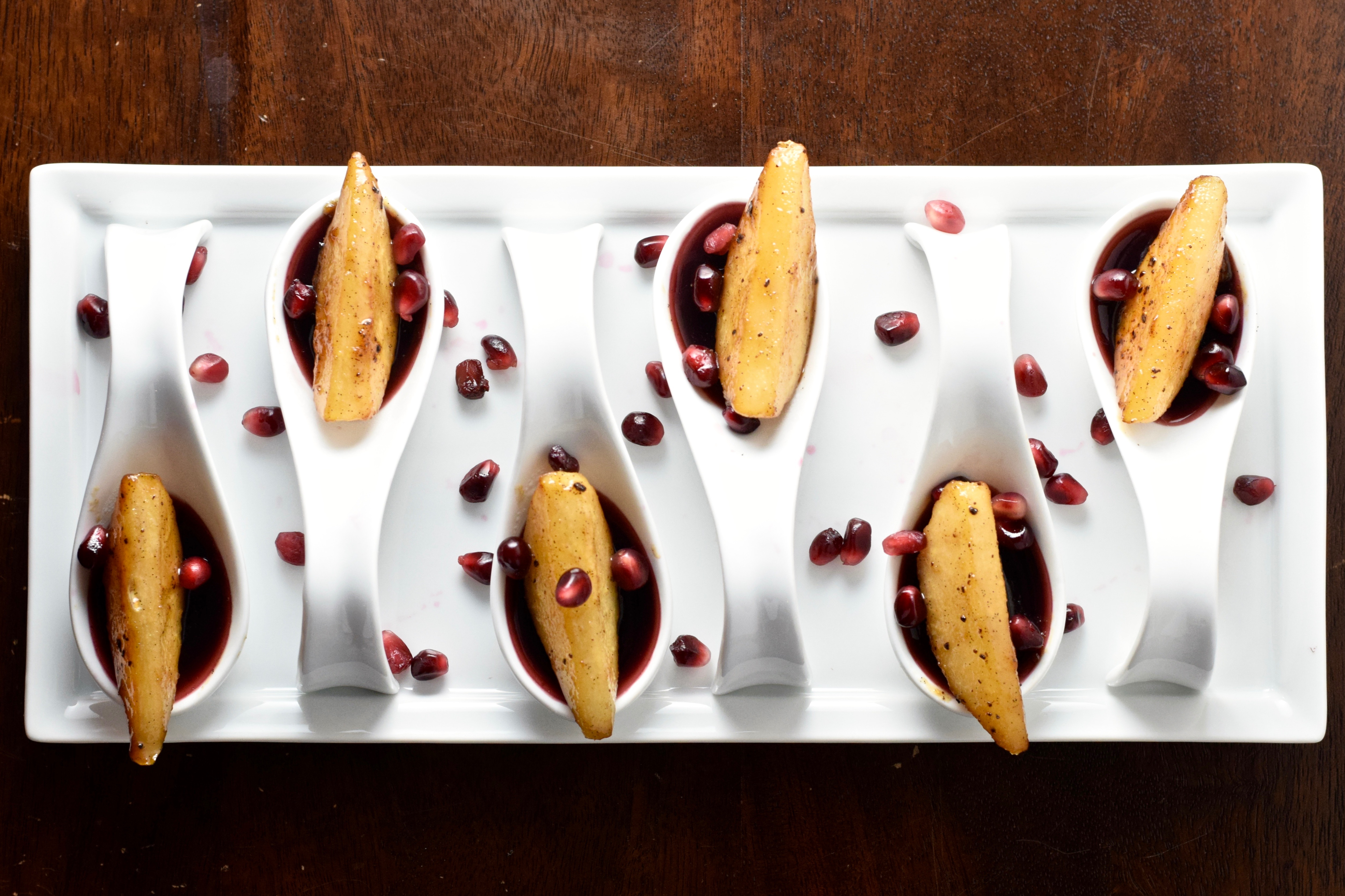 Vegan Pomegranate Sangria Gels with Brown Butter Brandy Caramelized Pears