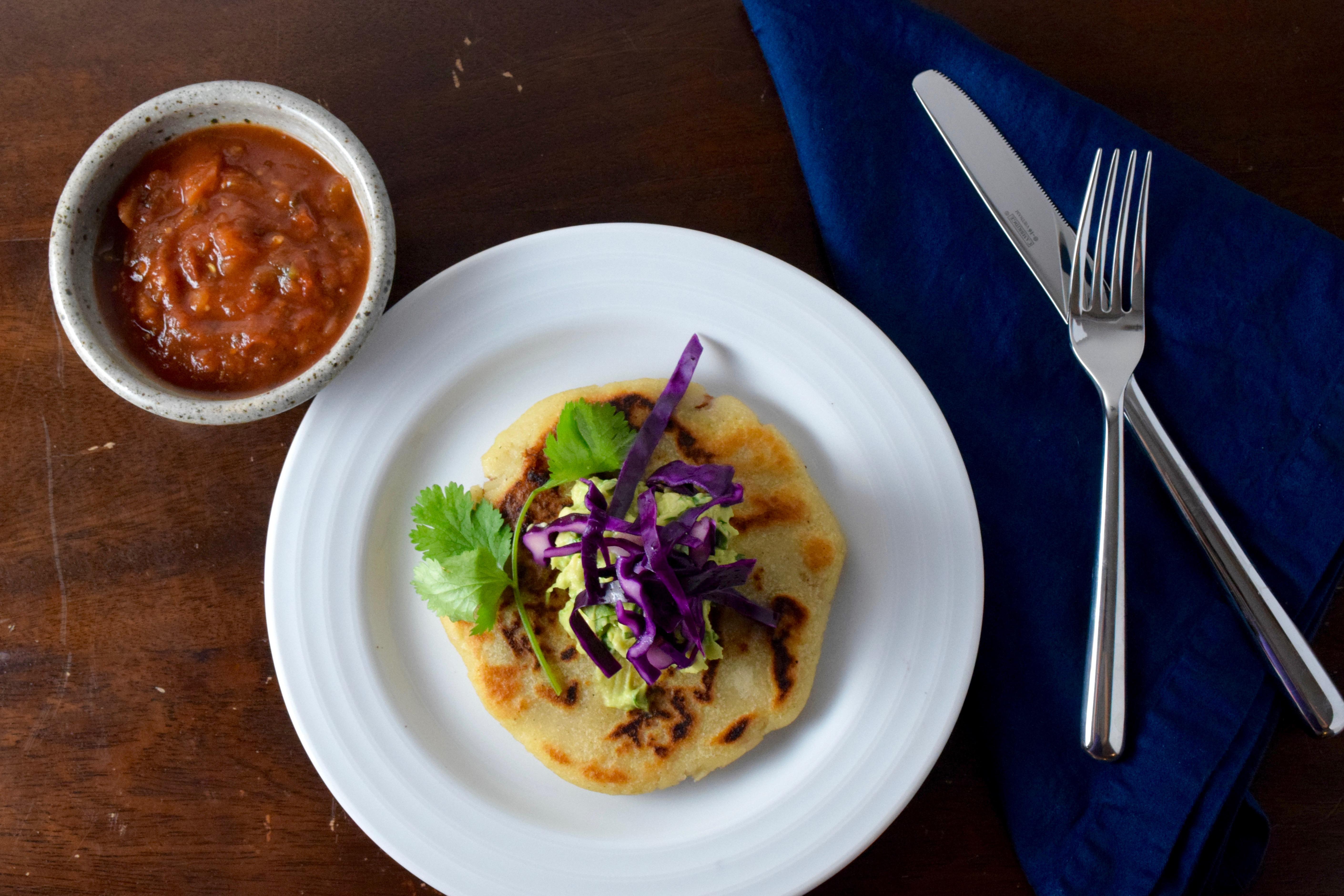 Vegan jalapeño cheese and bean pupusas
