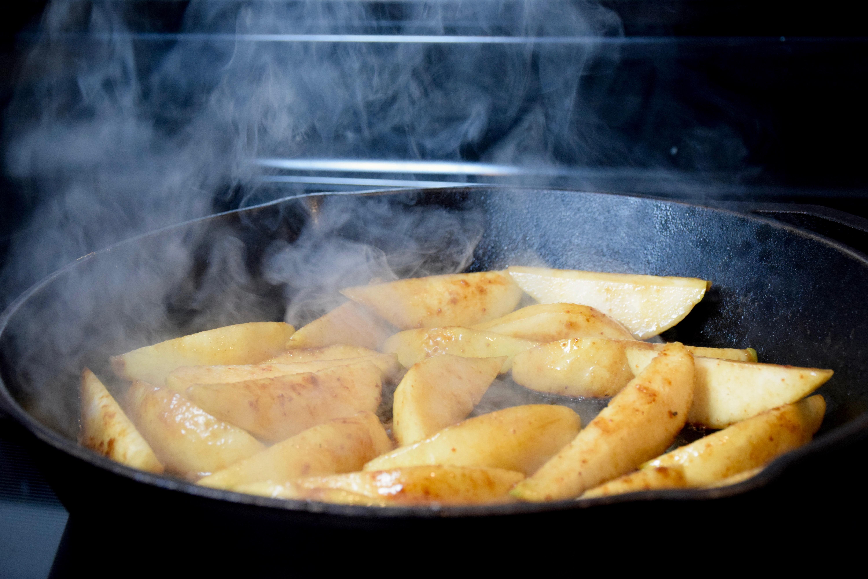 Vegan Brown Butter Brandy Caramelized Pears